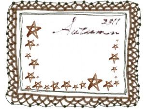 フリー素材:フレーム;大人かわいいブラウンブラックの水彩の星とレースの飾り枠と2011Autumnの手書き文字;640×480pix