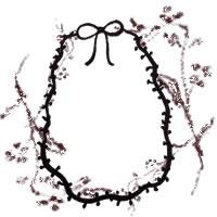 フリー素材:アイコン(twitter,mixi,ブログ);シンプルでガーリーな木の枝とリボンの楕円の飾り枠;200×200pix