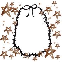 フリー素材:アイコン(twitter,mixi,ブログ);シンプルでガーリーな楕円のリボンと茶色の水彩の星いっぱいの飾り枠;200×200pix
