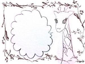 フリー素材:北欧風の木の枝の飾り枠と大人可愛いキリンと吹出しのイラスト;640×480pix