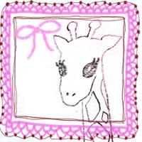 フリー素材:アイコン(twitter,mixi);大人可愛いブピンクのレースの飾り枠と鉛筆画のキリン;200×200pix