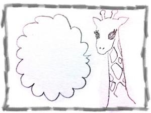 フリー素材:フレーム;大人可愛い鉛筆のラフな飾り枠とキリンと吹出しのフレーム;640×480pix