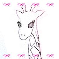 フリー素材:アイコン(twitter,mixi,ブログ);ガーリーなピンクの小さなリボンの飾り罫とモノクロのキリンの鉛筆イラスト;200×200pix