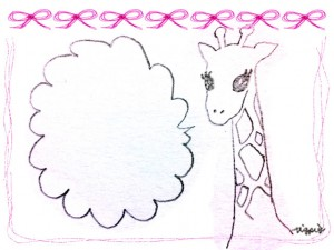 フリー素材:ガーリーなピンクのリボンとラフなラインの囲み枠とキリンと吹出し;640×480pix