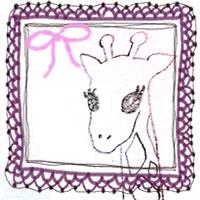 フリー素材:アイコン(twitter,mixi,ブログ);ガーリーなくすんだ紫のレースの飾り枠とピンクのりぼんとキリンの鉛筆イラスト;200×200pix