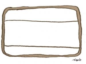 フリー素材:フレーム(twitter,mixi,ブログ);大人可愛い茶色のラフなラインのアンティークラベルみたいな鉛筆イラスト;640×480pix
