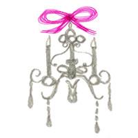 フリー素材:アイコン(twitter,mixi,ブログ);大人可愛いモノトーンのシャンデリアの鉛筆イラストとピンクのリボン;200×200pix