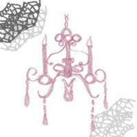 フリー素材:アイコン(twitter,mixi,ブログ);シンプルで大人可愛いピンクのシャンデリアとグレーのレース飾り;200×200pix