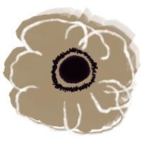 フリー素材:アイコン(twitter,mixi,ブログ),壁紙;北欧風のシンプルなベージュの花(アネモネ)のイラスト;200×200pix