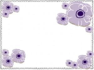 シンプルな北欧風の花(アネモネ)ともこもこのラインのフレームのフリー素材