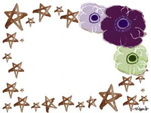 シンプルな北欧風の花(アネモネ)3輪と星いっぱいのフレームのフリー素材