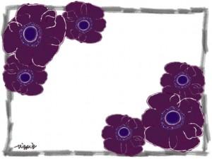 北欧風のガーリーな紫の花(アネモネ)とシンプルな鉛筆風のフレームのフリー素材