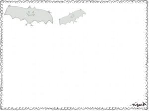 フリー素材:ハロウィンのフレーム素材;モノクロのガーリーなコウモリのイラスト;640×480pix
