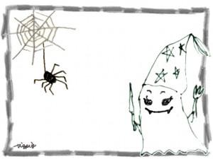 フリー素材:ハロウィンのフレーム素材;モノクロのガーリーなおばけとクモの巣と蜘蛛のイラスト;640×480pix