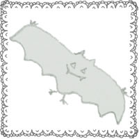 フリー素材:ハロウィンのアイコン(twitter,mixi);モノクロのガーリーなコウモリとふわふわのレースの飾り枠;200×200pix