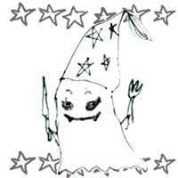フリー素材:ハロウィンのアイコン(twitter,mixi);モノクロのガーリーなおばけと星;200×200pix