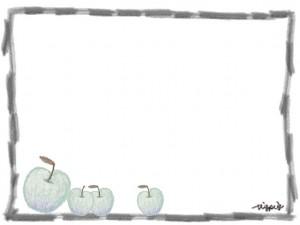 フリー素材:フレーム;ヨーロッパ風のシンプルな青リンゴとモノクロの鉛筆の;640×480pix