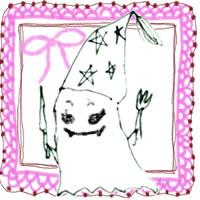 フリー素材:ハロウィンのアイコン(twitter,mixi);モノクロのガーリーなおばけとピンクのレース;200×200pix