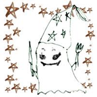 フリー素材:ハロウィンのアイコン(twitter,mixi);モノクロのガーリーなおばけと水彩の茶色の星の囲み枠;200×200pix