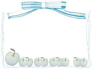フリー素材:フレーム;北欧風のシンプルな青リンゴとブルーのりぼんとライン;640×480pix