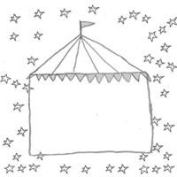 フリー素材:アイコン(twitter,mixi,ブログ);モノトーンのガーリーなサーカスのテントと星いっぱいの飾り枠;200×200pix