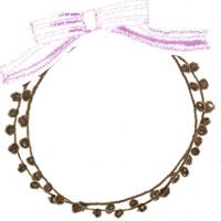フリー素材:アイコン(twitter,mixi,ブログ);ブラウンブラックのポンポン付きレースの飾り枠とピンクのリボン;200×200pix