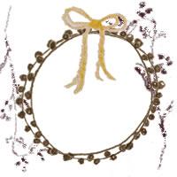 フリー素材:アイコン(twitter,mixi,ブログ);北欧風のシンプルな茶色の木の枝とレースの飾り枠と芥子色のリボン;200×200pix