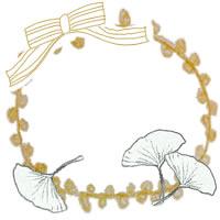 フリー素材:アイコン(twitter,mixi,ブログ);モノクロの木の葉(イチョウ)とガーリーな芥子色のレースの飾り枠;200×200pix
