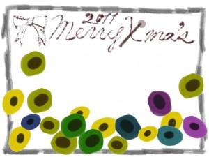 フリー素材:フレーム;北欧風のシンプルな花と鉛筆のモノクロのラインとリボンとクリスマスの手書き文字;640×480pix