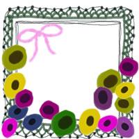 フリー素材:アイコン(twitter,mixi,ブログ);北欧風のカラフルな花と深緑のレースの飾り枠;200×200pix
