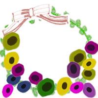 フリー素材:アイコン(twitter,mixi,ブログ);北欧風のカラフルな花とピンクのりぼんと黄緑のレースの飾り枠;200×200pix