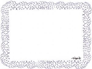 フリー素材:フレーム;モノトーンのガーリーなブルーブラックの北欧風レースの飾り枠;640×480pix