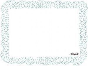 フリー素材:フレーム;大人可愛いパステルブルーの北欧風レースの飾り枠;640×480pix