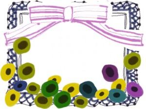 フリー素材:フレーム;北欧風の花とピンクのリボンとブルーのレースの飾り枠;640×480pix