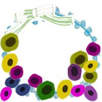 フリー素材:アイコン(twitter,mixi,ブログ);北欧風のカラフルな花と黄緑のリボンと水色のレースの飾り枠;200×200pix