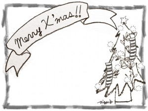 フリー素材:フレーム;モノクロの鉛筆の囲み枠とクリスマスツリーとMerryX'masの手書き文字のリボン;640×480pix