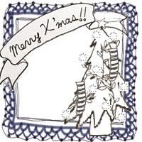 フリー素材:アイコン(twitter,mixi,ブログ);北欧風のクリスマスツリーとMerryX'masの手書き文字と紺色のレースの囲み枠;200×200pix