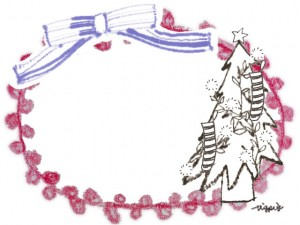 フリー素材:クリスマスのフレーム;モノトーンのクリスマスツリーとガーリーなブルーのリボンとピンクのレースの囲み枠;640×480pix