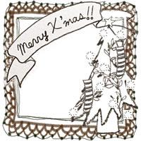 フリー素材:アイコン(twitter,mixi,ブログ);北欧風のクリスマスツリーとMerryX'masの手書き文字と茶色のレースの囲み枠;200×200pix