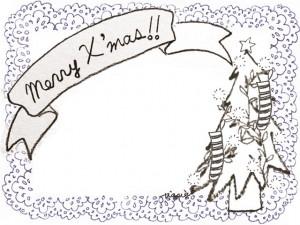 フリー素材:クリスマスのフレーム;北欧風のクリスマスツリーとMerryX'masの手書き文字のリボンと青色のレースの飾り枠;640×480pix