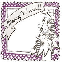 フリー素材:クリスマスのアイコン(twitter,mixi,ブログ);モノトーンのクリスマスツリーとMerryX'masの手書き文字のリボンと紫色のレースの飾り枠;200×200pix