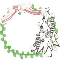 フリー素材:アイコン(twitter,mixi,ブログ);北欧風のシンプルなクリスマスツリーとピンクのリボンと黄緑のレースの丸い飾り枠;200×200pix