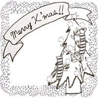フリー素材:アイコン(twitter,mixi,ブログ);モノクロのシンプルなクリスマスツリーとMerryX'masの手書き文字のリボンとレースの飾り枠;200×200pix