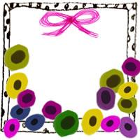 フリー素材:アイコン(twitter,mixi,ブログ);モノクロの水玉のフレームとピンクのリボンと北欧風のアネモネの花の飾り枠;200×200pix