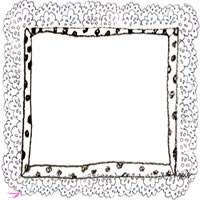フリー素材:アイコン(twitter,mixi,ブログ);モノクロの水玉のフレームとガーリーなレースの飾り枠;200×200pix