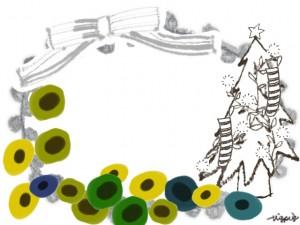 フリー素材:フレーム;北欧風のシンプルな花とクリスマスツリーとガーリーなグレーのリボンと楕円のレース;640×480pix
