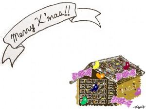 フリー素材:クリスマスのフレーム;ガーリーで大人可愛いお菓子の家とmerryx'masの手書き文字のリボン;640×480pix