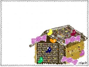 フリー素材:クリスマスのフレーム;ガーリーなお菓子の家とシンプルなレースの飾り枠;640×480pix