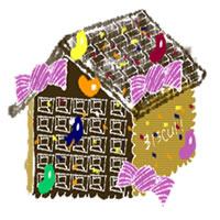 フリー素材:アイコン(twitter,mixi,ブログ);ガーリーなお菓子の家;200×200pix