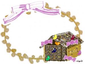 フリー素材:クリスマスのフレーム;ガーリーなお菓子の家とピンクのリボンと芥子色の楕円のレースの飾り枠;640×480pix